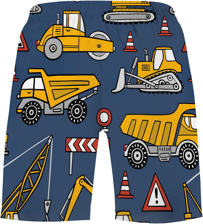 Construction Cars On Dark Blue Background Boys Quick Dry Beach Board Shorts Kids Swi