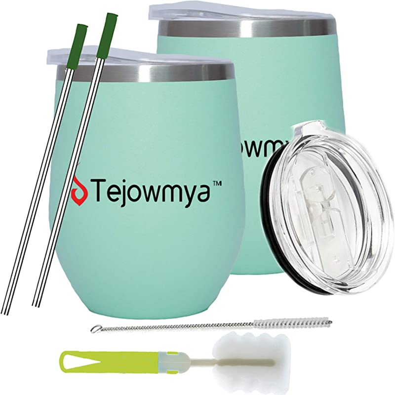 Tejowmya Wine Tumblers With Lids Straws Straw Tips Brush I Double Wall Vacuum Insulated Stemless Wine Glasses I 12 Oz Wine Cups For Wine Coffee Drinks Beer Cocktails Set Of 2 Green