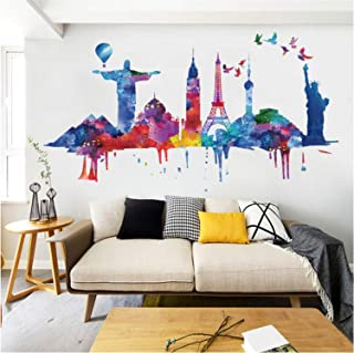 Prabahdak Colorful Places of Interest Wall Sticker Watercolor Landscape Wall Decal Removable DIY Murals Wallpaper Decorative for Living Room Sofa Background PVC Decorations