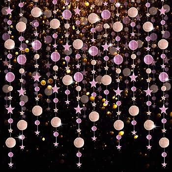FOCCTS Goldfarbene Kreis Girlande Stern Party Girlanden Streamer Kit Stern /& Punkt Dekorationen reflektierende Banner Hintergrund f/ür Verlobung//Hochzeit//Weihnachten//Geburtstag//Kinderzimmer