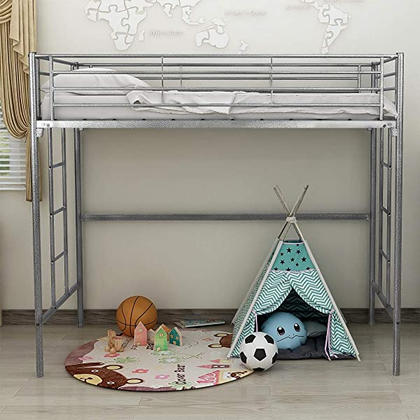 Elegant Home Products Modem Loft Bed Style Platform Metal Bed Frame Heavy Duty Steel Slabs Twin Size Silver Gray Textured Finish 744A Silver Gray