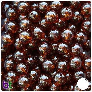 BeadTin Root Beer Transparent 10mm Round Craft Beads (150pcs)