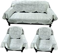 Topaz Furnishings Polycotton Unique Design Sofa Covers with Arm for 5 Seater Sofa, Set of 12, Cream Colour