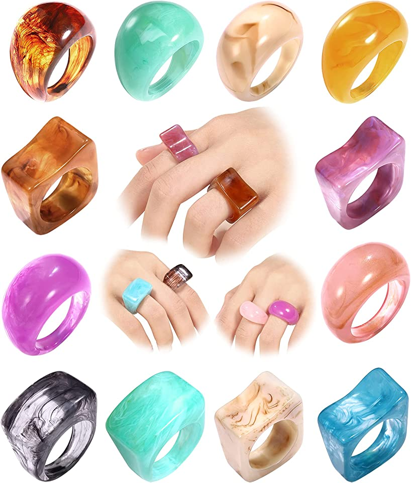 12-16 PCS Vintage Resin Acrylic Rings,Colorful Resin Chunky Dome Rings Set for Women Index Finger Diamond Ring for Girls Retro Plastic Band Ring Jewelry Party Gift(Size 6-7)