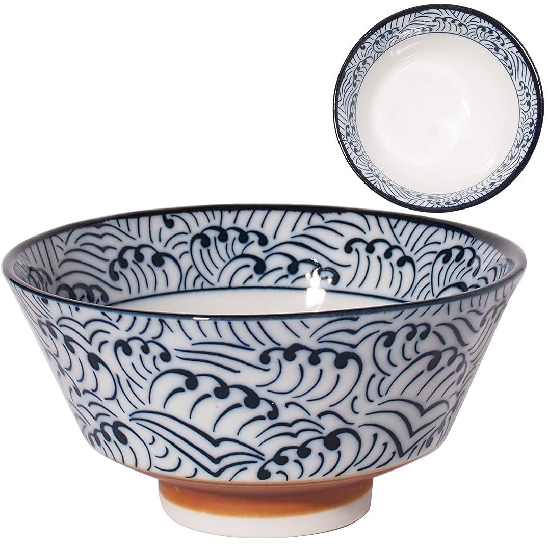 世論調査ジャケット違反するみのる陶器 美濃焼 反型茶碗 呉須 波紋 φ12.8×H6.5cm