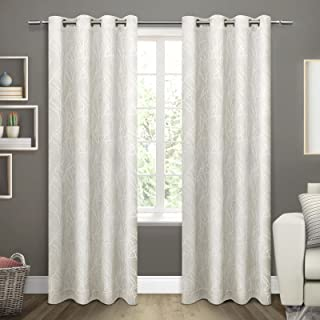 Exclusive Home Curtains Twig Woven Blackout Grommet Top Panel Pair, Vanilla, 54x108, 2 Piece