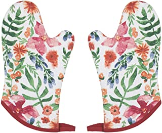 Now Designs Oven Mitt Pair, Botanica - 8 x 7 in   Cotton with Polyester Fill