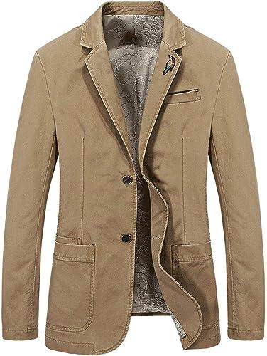 HX mode Hommes's Autumn Cotton 2 Boucles Classique Blazers Affaires Veston Tailles Confortables à Manches Courtes Hommes Costume Veste SurvêteHommest VeteHommest