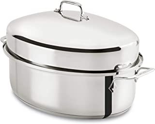 All-Clad E7879664 Stainless Steel Dishwasher Safe Oven Safe Covered Oval Roaster Cookware, 15-Inch, Silver (Renewed)