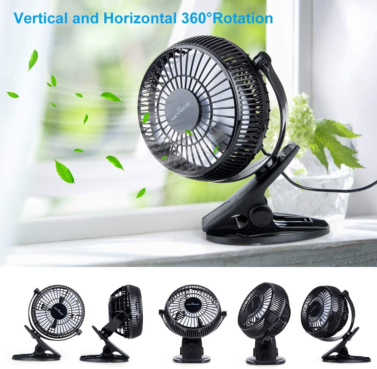 KEYNICE USB Desk Fan, 4 Inch Table Fans, Mini Clip on Fan, Portable Cooling Fan with 2 Speed, USB Powered Stroller Fan, 360° Rotate USB Fan, Personal Quiet Electric Fan for Home Office Camping- Black