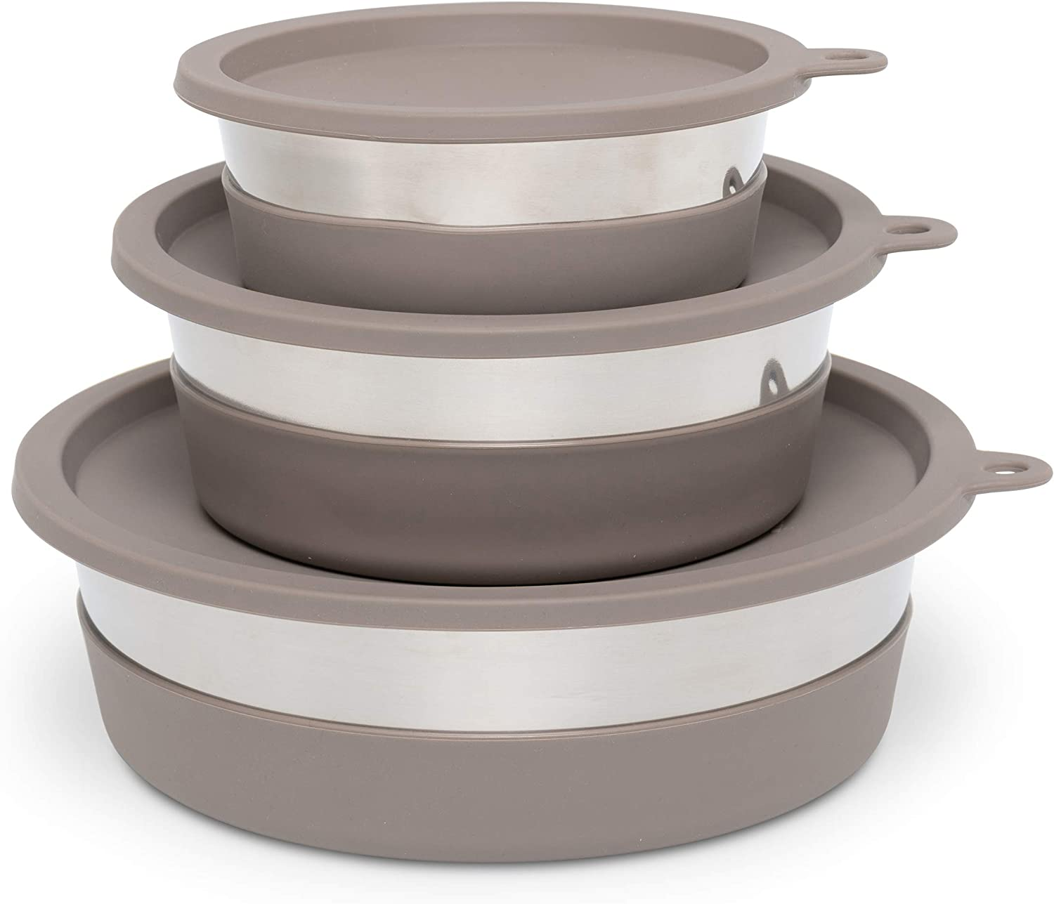 Medium Messy Mutts Stainless Steel Heavy Gauge Bowl with Non-Slip Removable Silicone Base Warm Grey 2.5 Cups