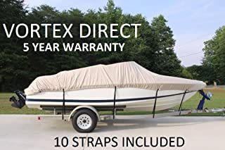 VORTEX HEAVY DUTY VHULL FISH SKI RUNABOUT COVER FOR 17 18 19' BOAT, BEST AVAILABLE COVER BEIGE/TAN