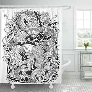 Emvency Shower Curtain Asian Dragon and Koi Carp Fish Which is Trying to Reach The Top of Waterfall Black and White Tattoo Shower Curtains Sets with Hooks 72 x 72 Inches Waterproof Polyester Fabric