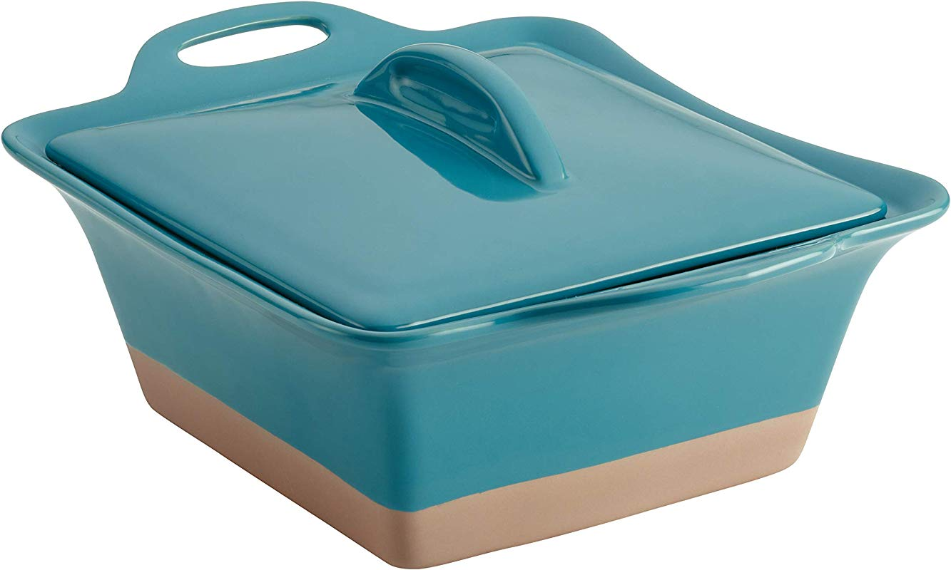 Rachael Ray Collection Stoneware Square Casserole 2 5 Quart Turquoise