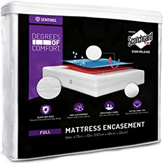 Degrees of Comfort Zippered Full Bed Bug Mattress Protector | Waterproof, Breathable, Dust Mite Encasement | W/Advance Patented Zipper Flap Design - 3M Scotchgard Stain Release Technology Fits 13-15