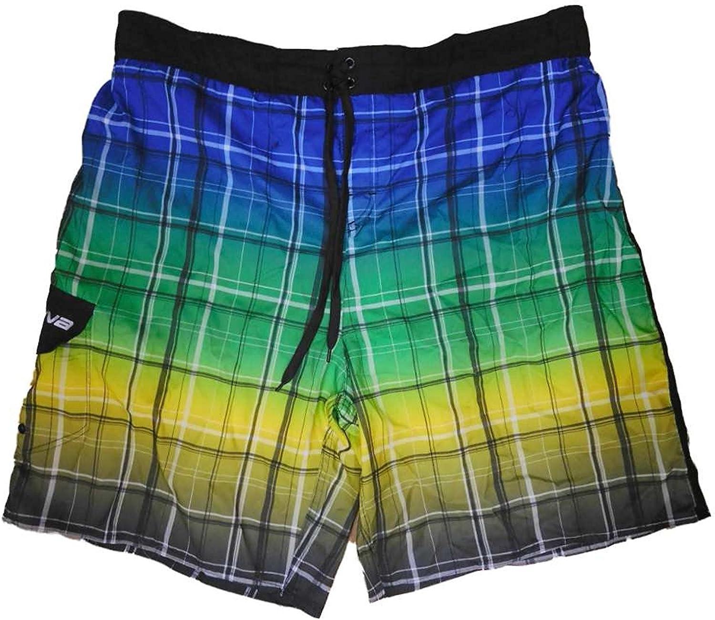 LAGUNA Mens Multicolor Plaid Board Shorts Swim Trunks