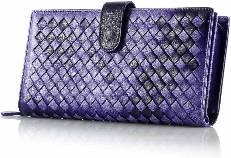 100% Real Genuine Leather Wallets Handmade Sheep Skin Knitting Women Purse Zipper Coin Pocket Purses High Money Bag