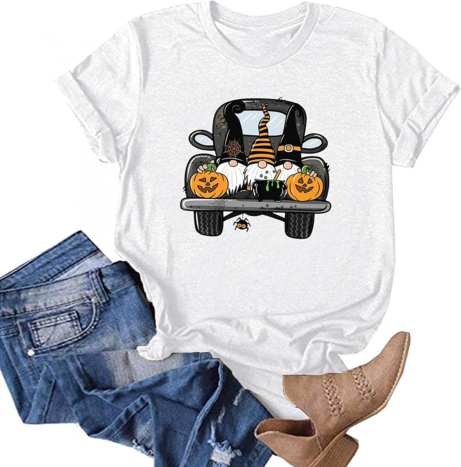AODONG Womens Tops for Halloween Short Sleeves Gnomes Pumpkin Graphic T-Shirts Pullover Tops Blouse Halloween