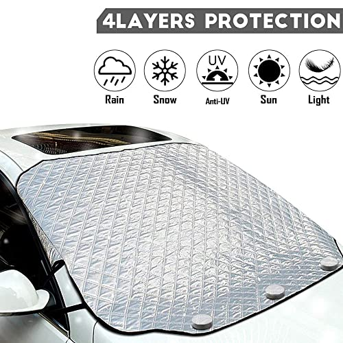 Frost Extra Large Size Fits For Most Vehicles UV Protection Hamkaw Snow Cover For Windshield Car Windshield Snow Ice Cover Waterproof Windshield Winter Cover For Ice Snow