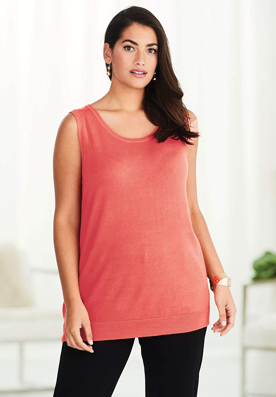 Jessica London Womens Plus Size Sleeveless Crew Neck Sweater