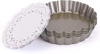 LIHAO タルト型 底取式 パイ皿 10㎝ 6個入り 20枚紙付き お菓子用 炭素鋼製 熱伝導効 非粘着 繰り返し使え