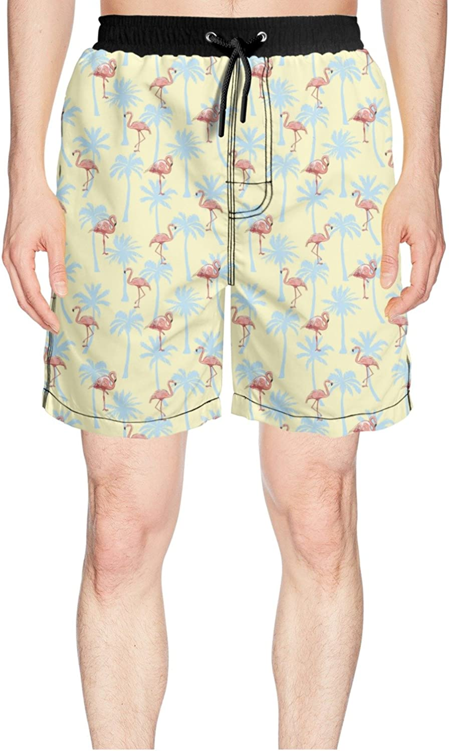 a7c445c080403 Juliuse Marthar Men's Tropical Palm Pink Flamingo Flamingo Flamingo Yellow Swim  Trunks Quick Dry Shorts Board Shorts 249648