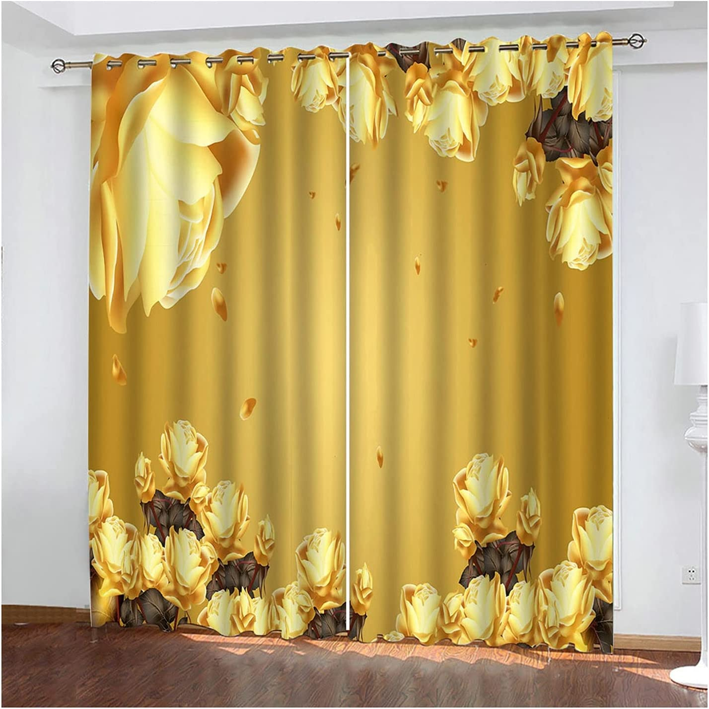 Adisaer Boston Mall Champagne Kitchen Curtains Polyester Rose Flower 2021 spring and summer new Blacko