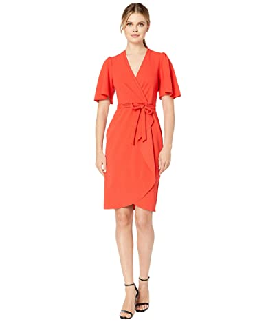 Donna Morgan Crepe Faux Wrap w/ Flutter Sleeve (Scarlet Red) Women