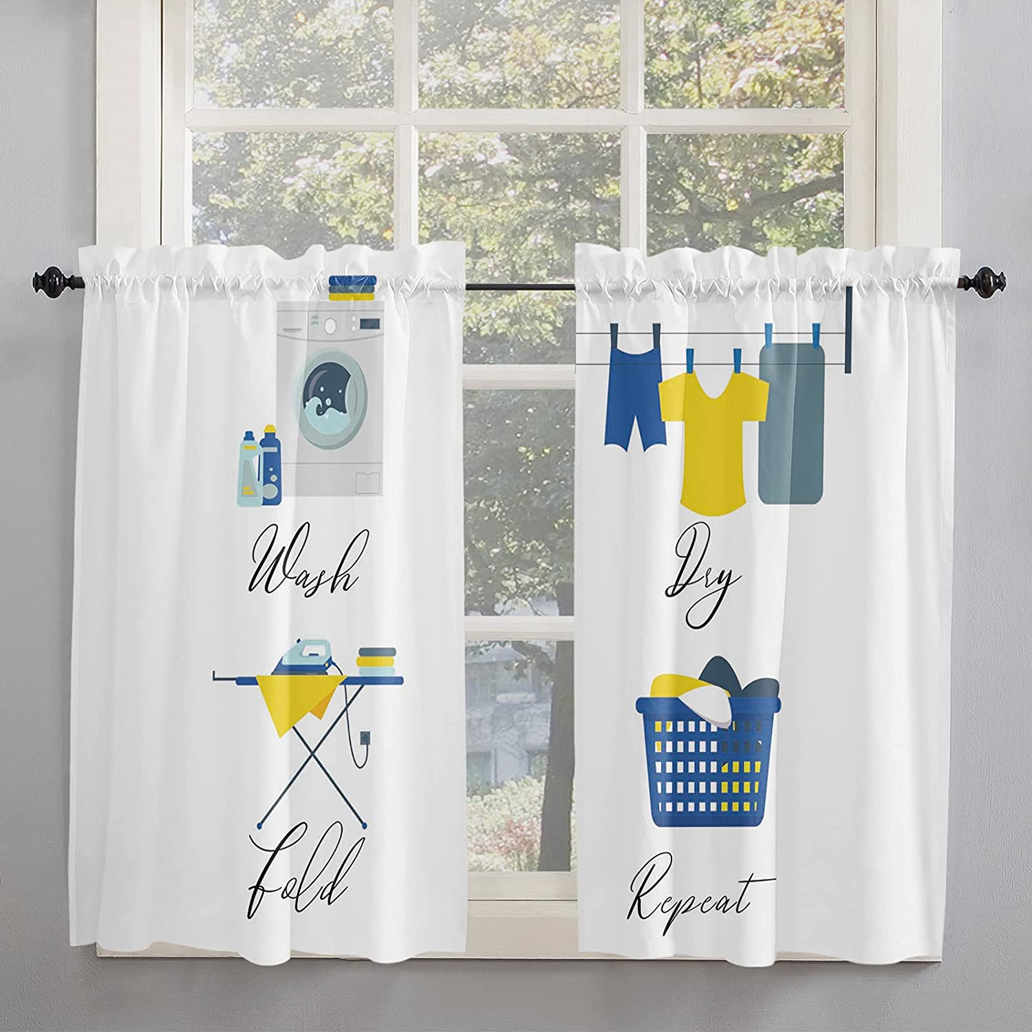 Laundry Room Puzzle Kitchen Curtains Windows Inch Tulsa Mall Length 54 35% OFF for