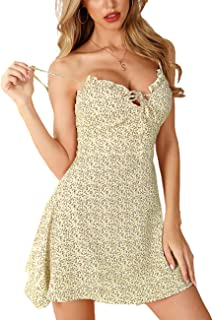 MISOMEE Women Fashion Home Floral Print Tie Front Mini Dress