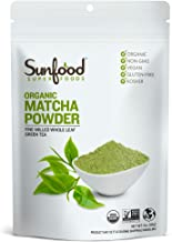Sunfood Superfoods Matcha Green Tea Powder- Organic. For Lattes, Cooking, Baking and More. Unsweetened. 100% Pure Whole Le...