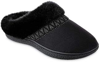 isotoner Women's Microsuede Sage Hoodback Slippers - Black Microsuede Large