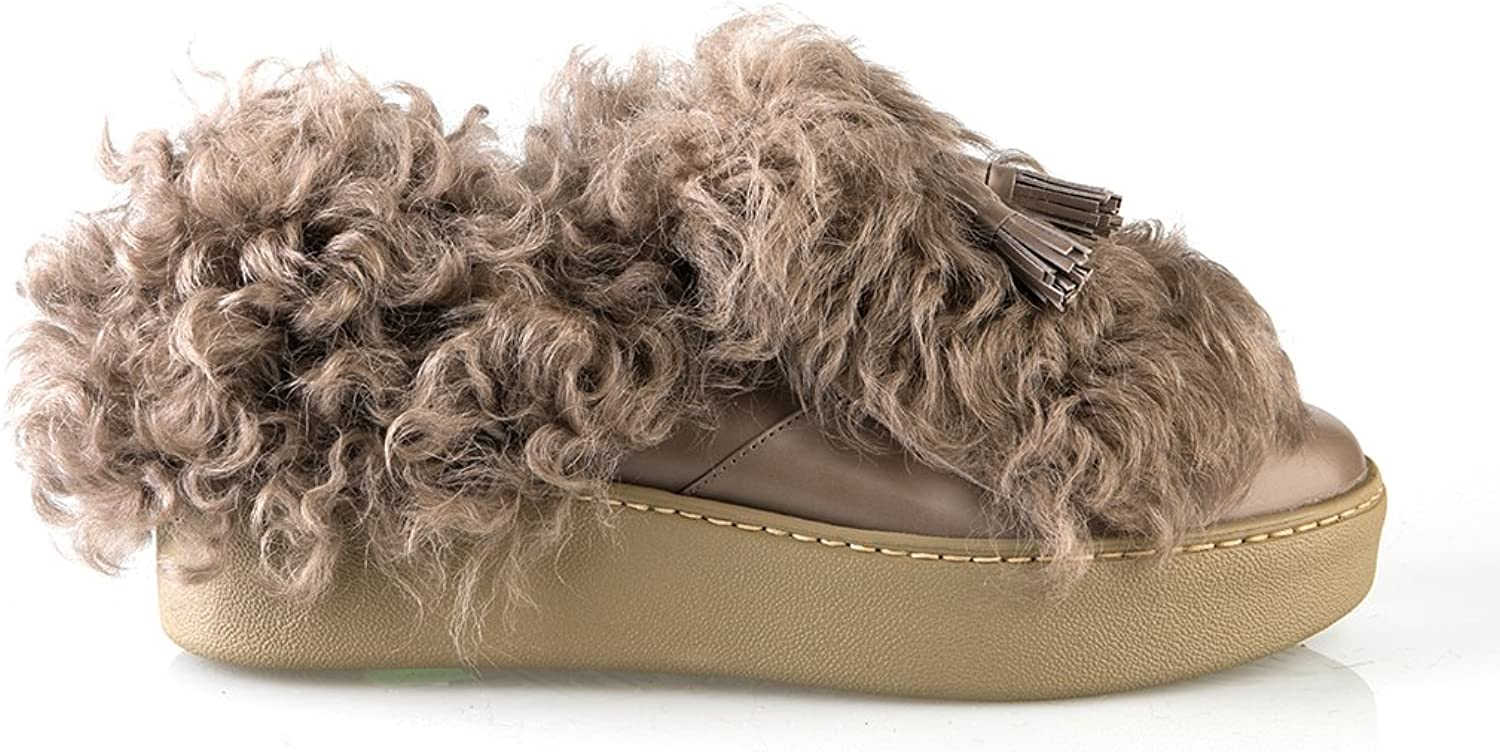 NANDO MUZI 6471 Leather Italian Designer Shearling Snow Sneakers Women