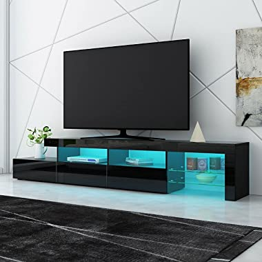 TV Table Stand Storage Cabinet LED Entertainment Unit 3 Drawers High Gloss Front 240cm Black