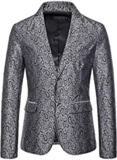 2019 Men's Blazer Dress Coat Beautyfine Autumn Winter Casual Gold Print Button Jacket Long Sleeve Tops