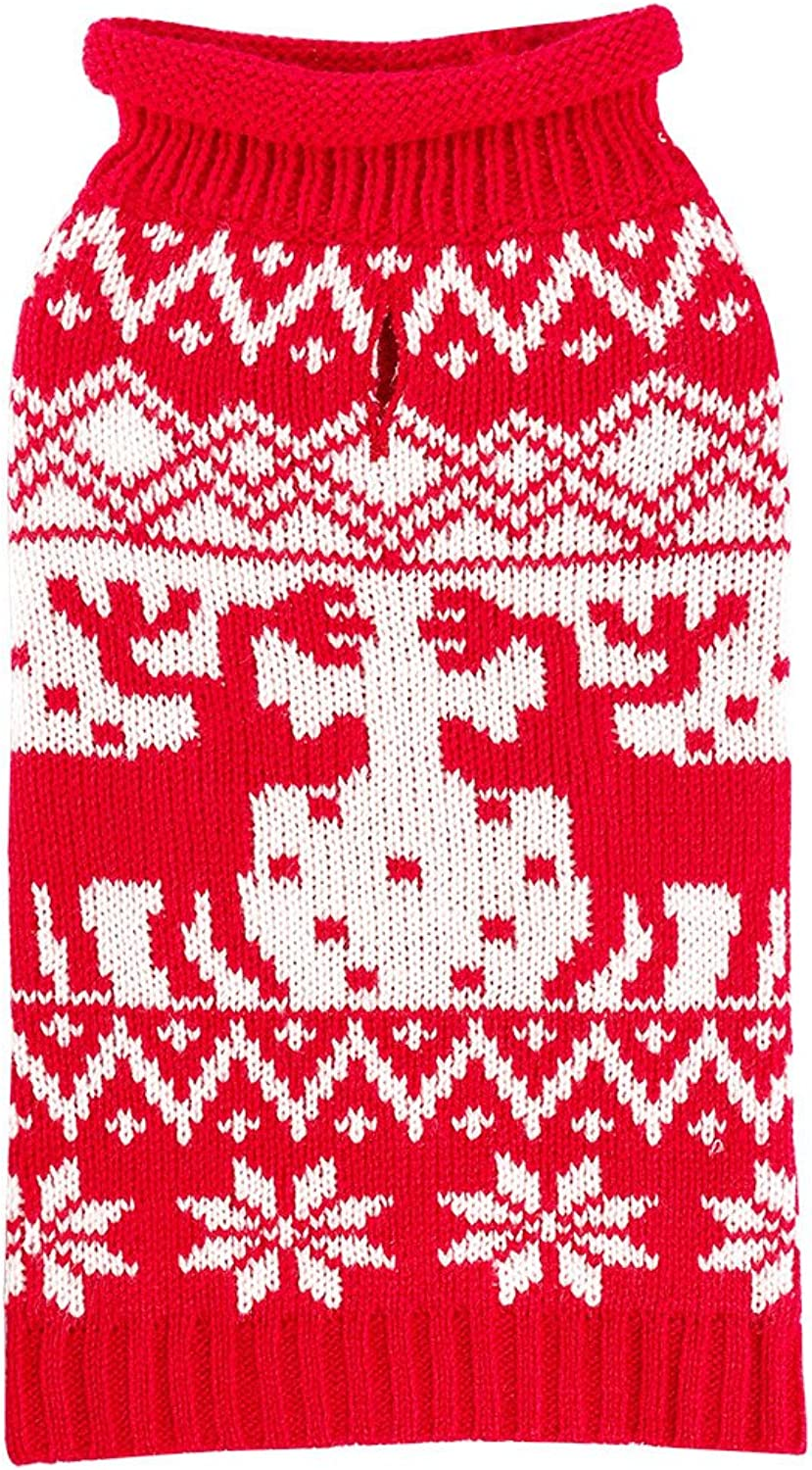PETCEE Knit Sweater for Dogs,Dogs Christmas Sweater for Middle Dog(Back Length 12 ,Festive Red)