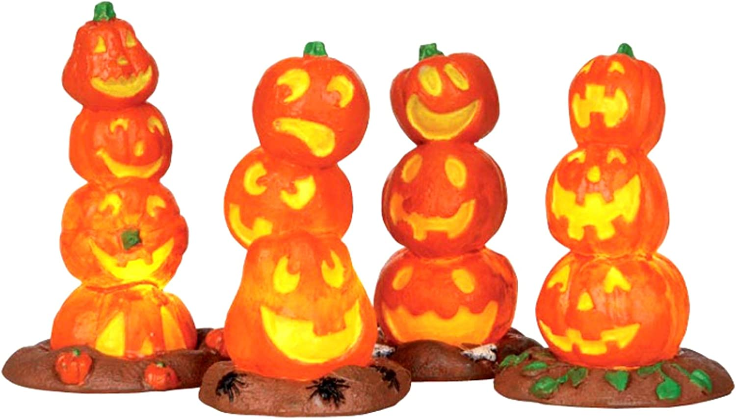 Lemax Spooky Town Halloween Light Up Stack #3 Popular brand in the world 4 Pack of Max 78% OFF Pumpkin