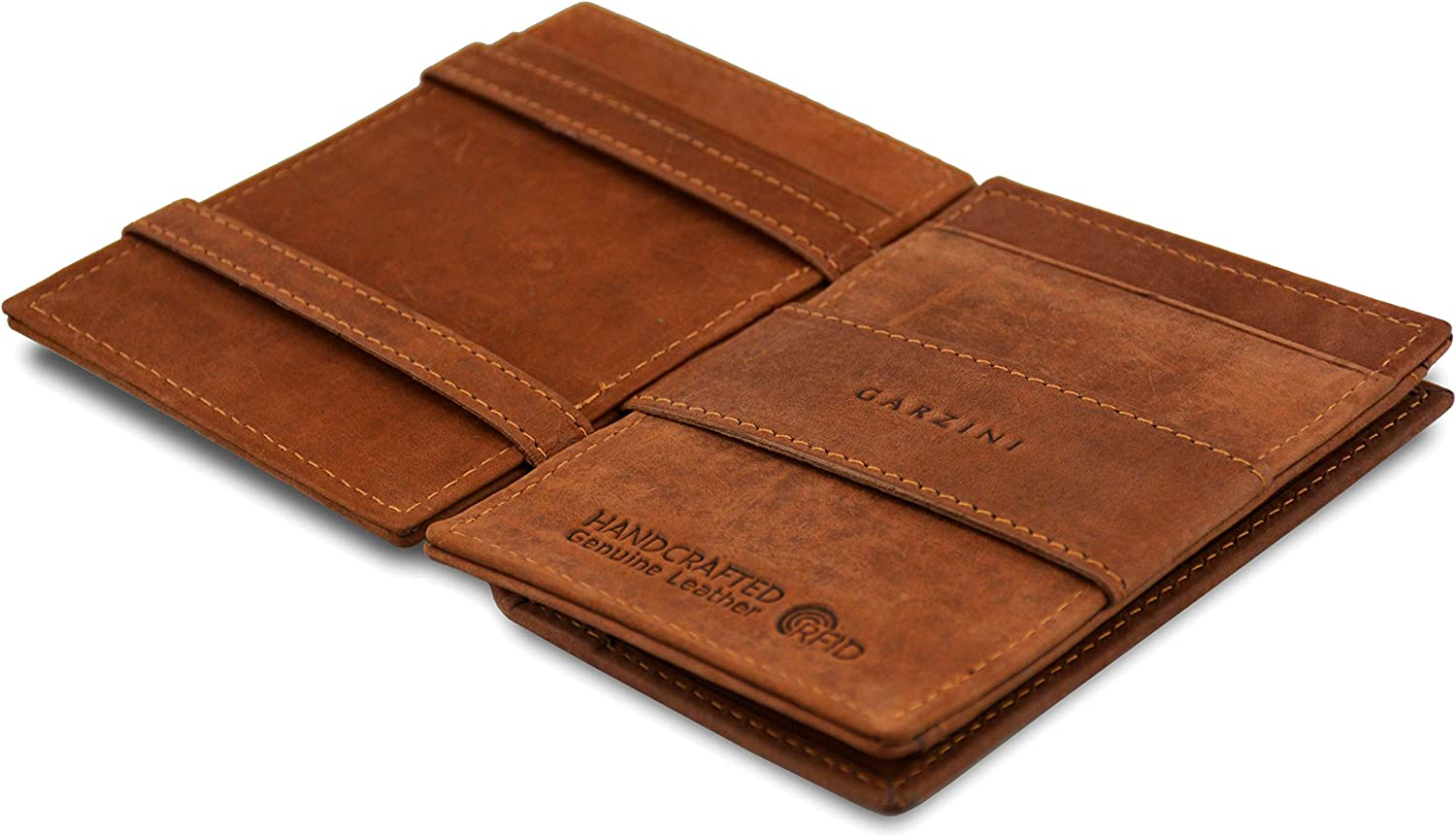 Garzini Magic Wallet with coin pocket, Minimalist Wallet with RFID card holder, Leather Wallet for 7 cards, Jave Brown