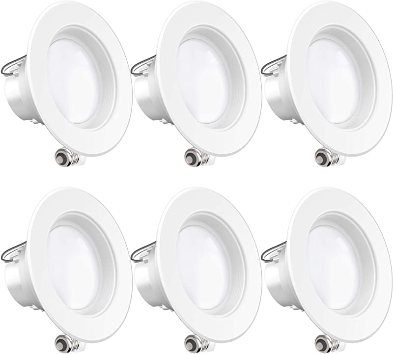 Sunco Lighting 6 Pack 4 Inch LED Recessed Downlight Baffle Trim Dimmable 11W 40W 4000K Cool White 660 LM Damp Rated Simple Retrofit Installation UL Energy Star