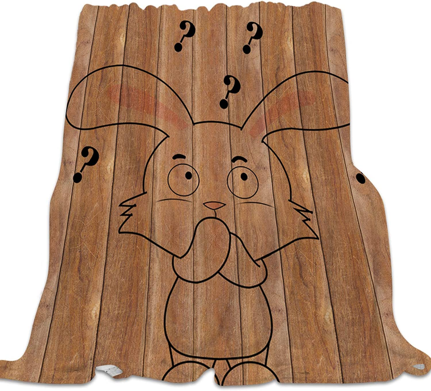 YEHO Art Gallery Soft Flannel Fleece Bed Blanket Throw-Blankets for Girls Boys,Cartoon Rabbit Animal Wood Grain Pattern,Lightweight Warm Blankets for Bedroom Living Room Sofa Couch,39x49inch