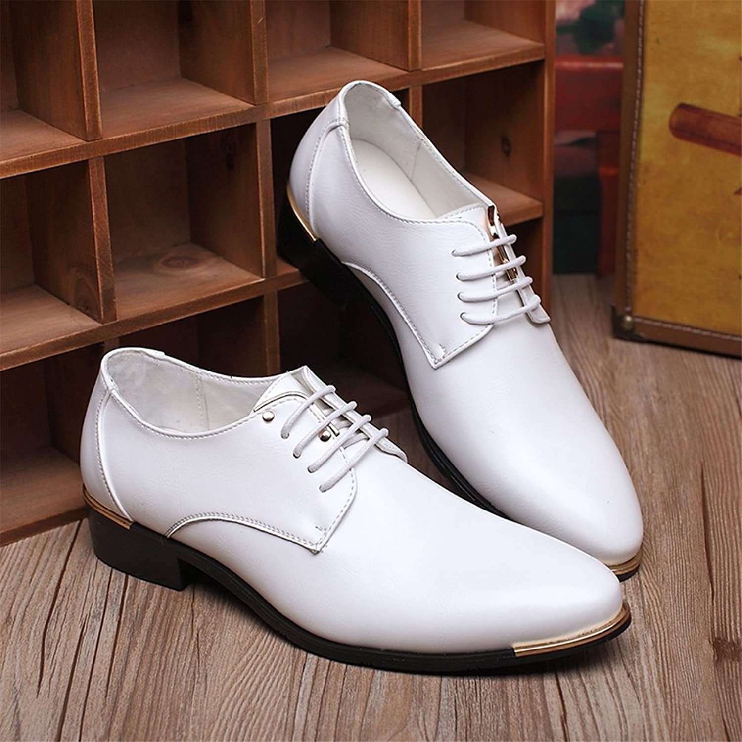 GLSHI Men's shoes PU Spring Fall Comfort Oxfords Lace-up for Casual White Black Formal Business Work Dress Wedding