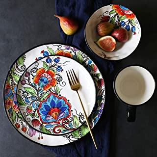 XinQing-Bowl cutlery set لوحة سلطة السلطانية القدح، الخزف زهرة الملونة، الأطباق غير النظامية، 4 قطع من مجموعة عشاء السيرام...