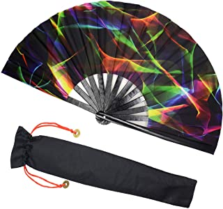 Zolee Large Rave Folding Hand Fan with Bamboo Ribs for Men/Women - Chinese Japanese Handheld Fan with Fabric Case - for Dance Music Festival Party, Performance, Decorations, Gift (Colorful)