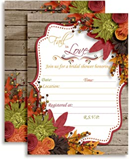 Fall in Love Autumn Leaves Bridal Shower Invitations, 20 5