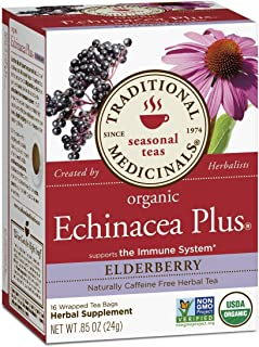 Traditional Medicinals Organic Echinacea Plus Elderberry Seasonal Tea, 16 Tea Bags (Pack of 3)