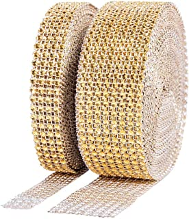 Teli 1 Roll 4 Row 10 Yard and 1 Roll 8 Row 10 Yard Acrylic Rhinestone Diamond Ribbon for Wedding Cakes, Birthday Decorations, Baby Shower Events, Arts and Crafts Projects (2 Rolls, Gold)