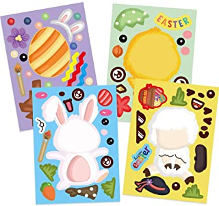 48 Easter Stickers for Kids Make Your Own Easter Sticker Make a Face Easter Crafts Party Favors Include Easter Eggs Bunny ...