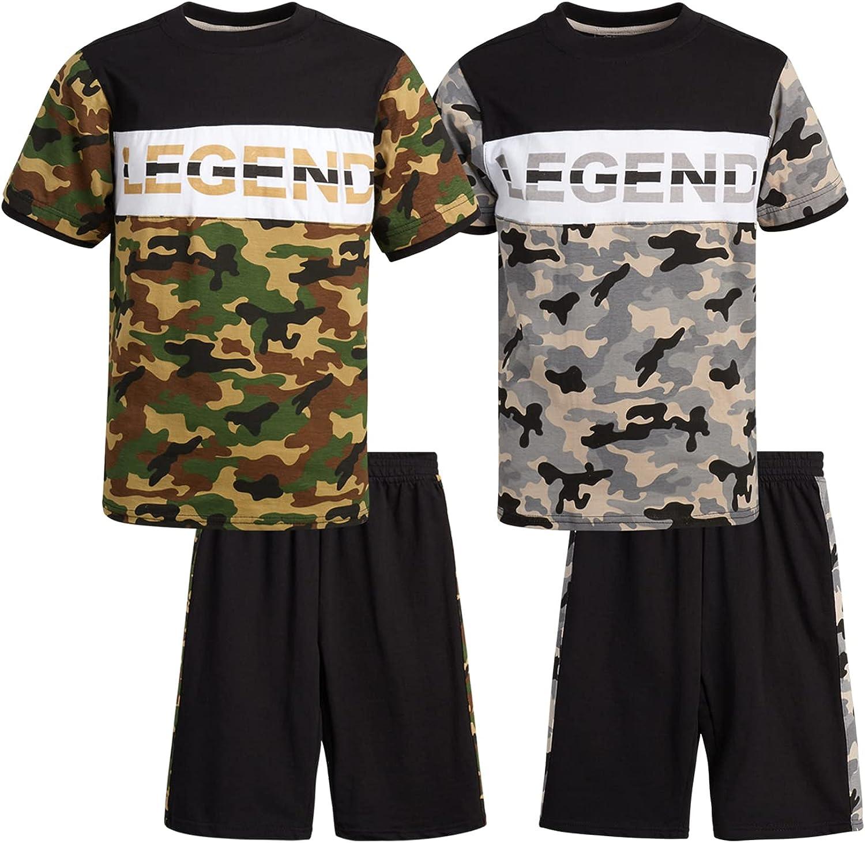 Quad Seven Boys' Shorts Set – 4 Piece Short Sleeve Performance T-Shirt and Gym Shorts Kids Clothing Set (Big Kid)