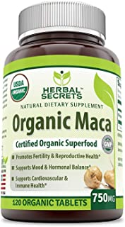 Herbal Secrets USDA Certified Organic Maca 750 Mg 120 Organic Tablets (Non-GMO)- Promotes Fertility & Reproductive Health*, Supports Mood & Hormone Balance* Supports Cardiovascular & Immune Health*