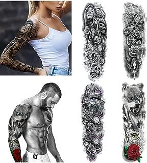 Crazy-m 4 Blätter temporäre Arm Tattoos Aufkleber für Männer Frauen Temporär Tätowierung Aufkleber Herren Damen Arm Tätowierung Full Arm Tattoo Strumpf für Karneval Fasching Party
